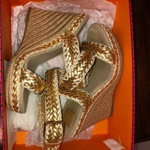 Gold braided strapped Tory Burch Wedge Size 8